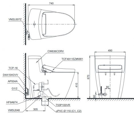 bản vẽ bồn cầu TOTO MS636CDRW12