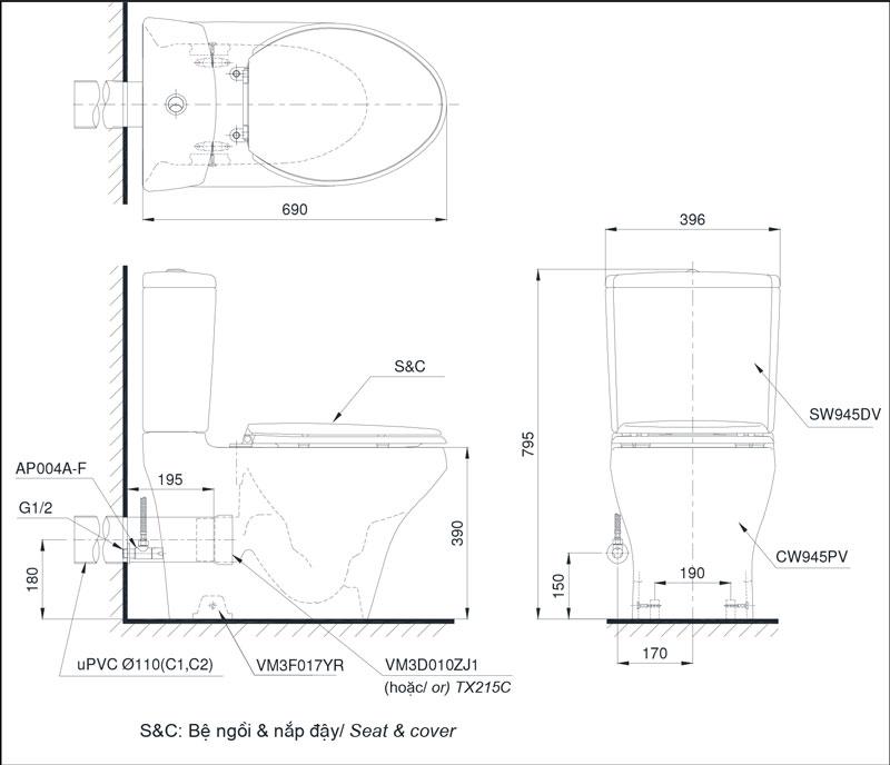 Bản vẽ bồn cầu 2 khối TOTO CS945PDT8