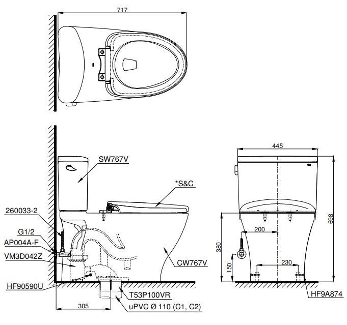 bản vẽ Bồn cầu 2 khối TOTO CS767T8
