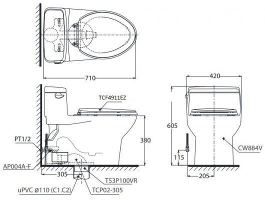 bản vẽ bồn cầu TOTO MS884CW12