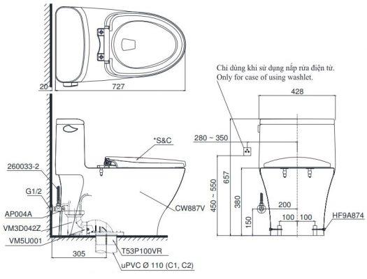 bản vẽ bồn cầu thông minh toto ms887cw12