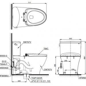 bản vẽ bồn cầu thông minh TOTO CS767CW12