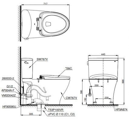 bản vẽ bồn cầu TOTO CS767W6