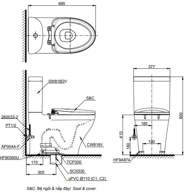 bản vẽ bồn cầu TOTO CS818DT8