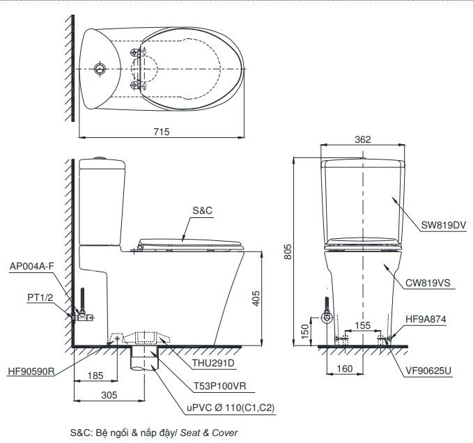 bản vẽ bồn cầu TOTO CS819DST8