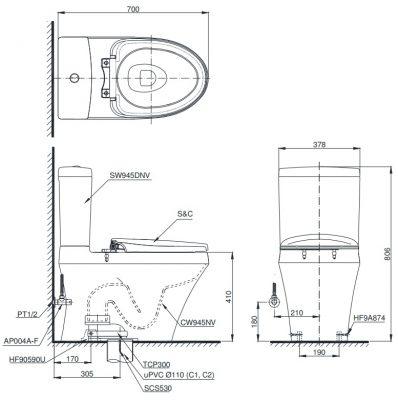 bản vẽ bồn cầu TOTO CS945DNW11