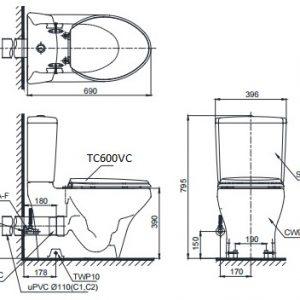 bản vẽ bồn cầu TOTO CS945PDT8