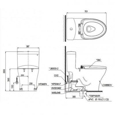 bản vẽ bồn cầu TOTO CS945PDW11