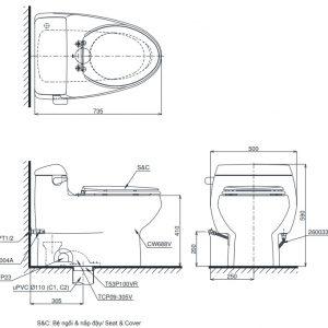 bản vẽ bồn cầu TOTO MS688W11