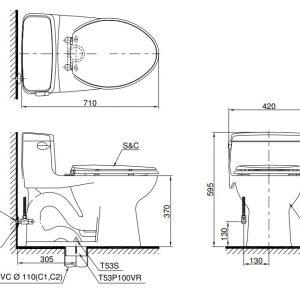 bản vẽ bồn cầu TOTO MS864W11