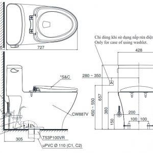 bản vẽ bồn cầu TOTO MS887W6