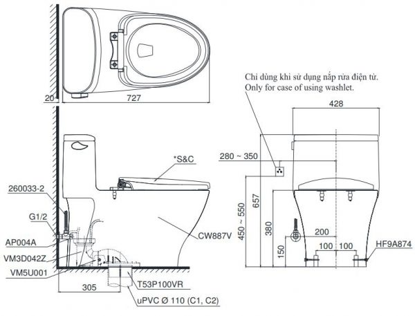 bản vẽ bồn cầu toto ms887w7