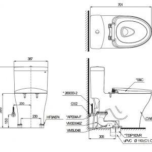 bản vẽ kỹ thuật TOTO MS889DW6