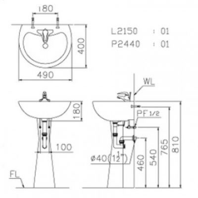 ban ve lavabo caesar l2150