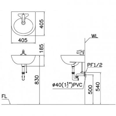 ban ve chau lavabo caesar l2140