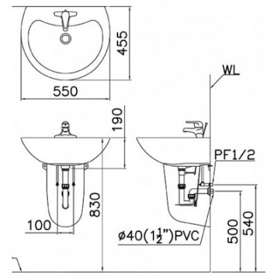 ban ve lavabo caesar l2155