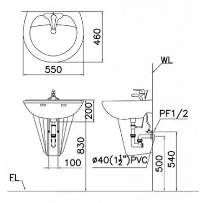 ban ve lavabo caesar l2220/p2436