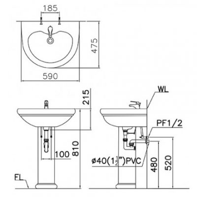 ban ve chau lavabo caesar l2230