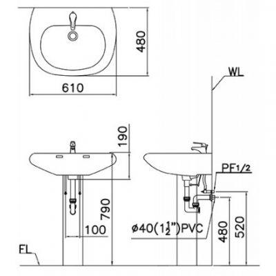 ban ve lavabo caesar l2560/p2438