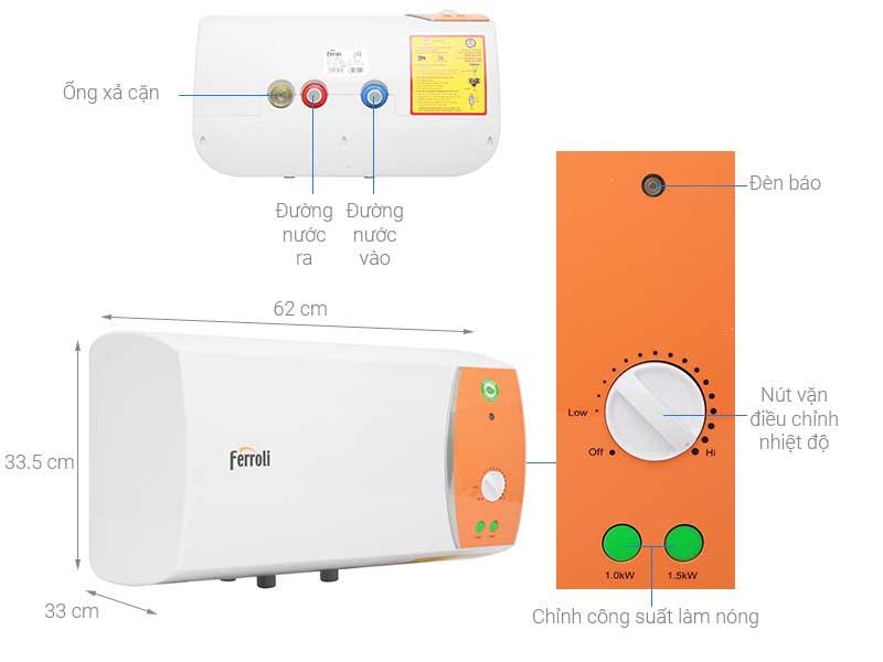 Bình nóng lạnh Ferroli 30 lít VERDI 30L TE 30 lít