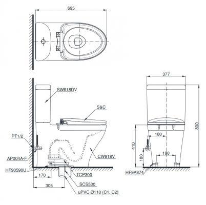 bản vẽ bồn cầu TOTO CS818CDW12