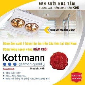 Đèn sưởi nhà tắm âm trần 2 bóng Kottmann K9S