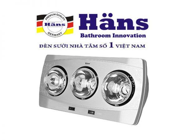 Đèn sưởi nhà tắm Hans 3 bóng H3B