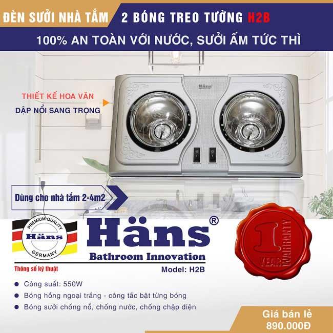 đèn sưởi 2 bóng Hans H2B