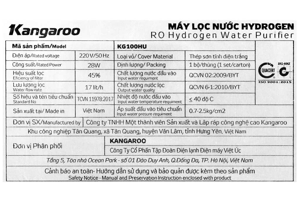 thông số kỹ thuật máy lọc nước Kangaroo KG100HU