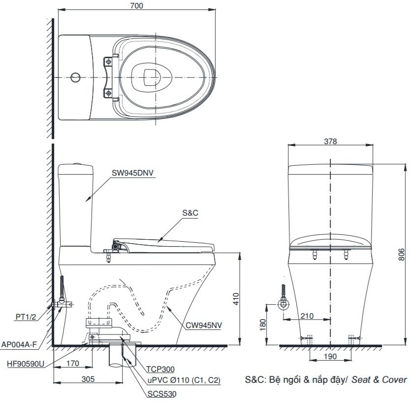 bản vẽ bồn cầu TOTO CS945DNT3