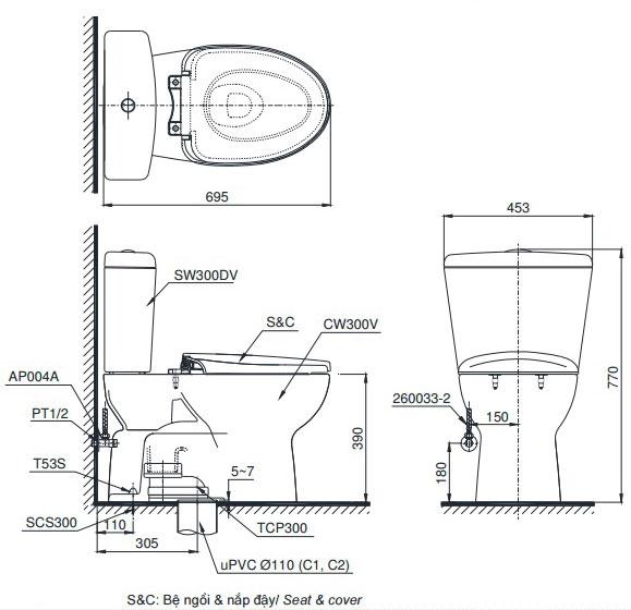 Bản vẽ bồn cầu TOTO CS300DRT3