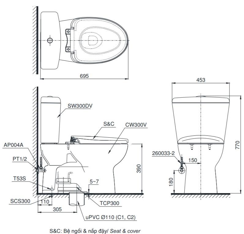 Bản vẽ bồn cầu TOTO CS300DT3Y1