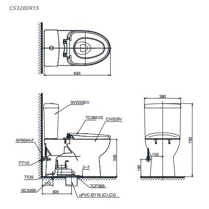 Bản vẽ kỹ thuật bồn cầu TOTO CS320DRT3