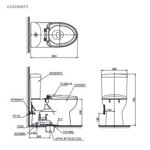bản vẽ kỹ thuật TOTO CS325DRT3