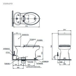 Bản vẽ bồn cầu TOTO CS351DT2