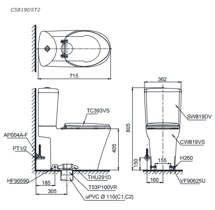 bản vẽ bồn cầu 2 khối TOTO CS819DST2