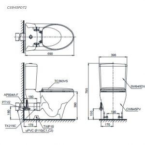 bản vẽ bồn cầu TOTO CS945PDT2