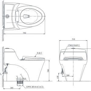 bản vẽ kỹ thuật bồn cầu toto CW823NW/F