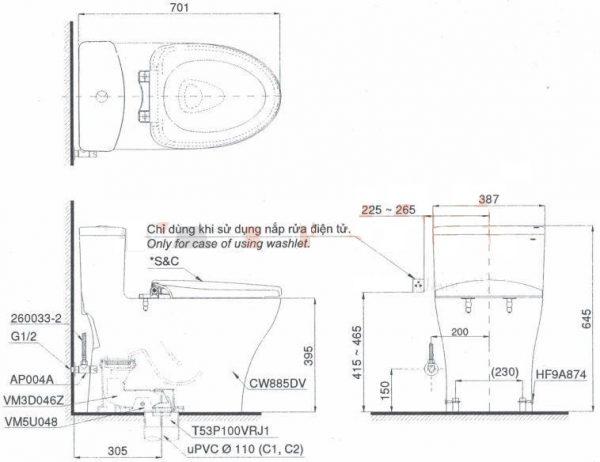 Bản vẽ kỹ thuật bồn cầu MS885DT3