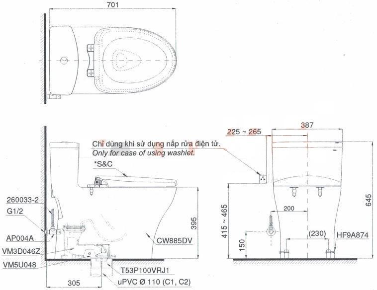 Bản vẽ kỹ thuật bồn cầu TOTO MS885DT2
