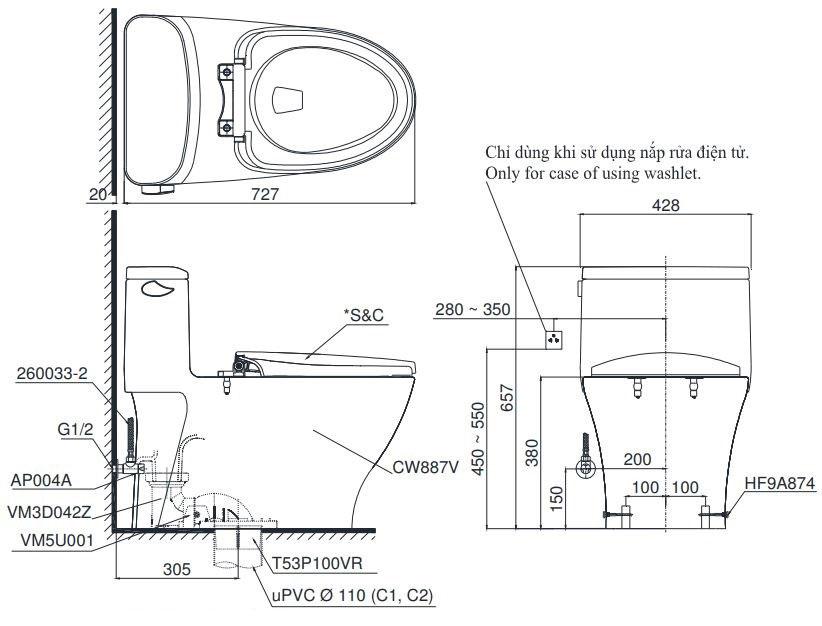 Bản vẽ kỹ thuật bồn cầu TOTO MS887T3