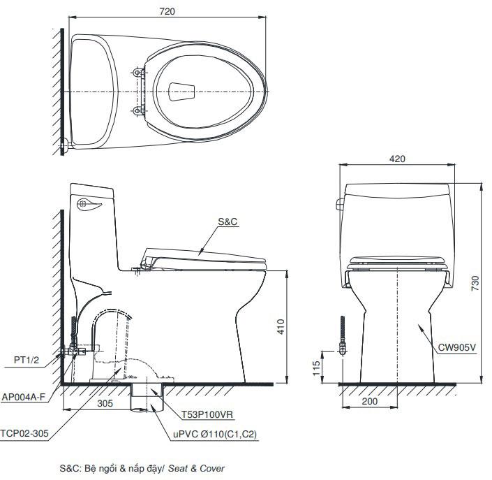 Bản vẽ kỹ thuật bồn cầu TOTO MS905T8