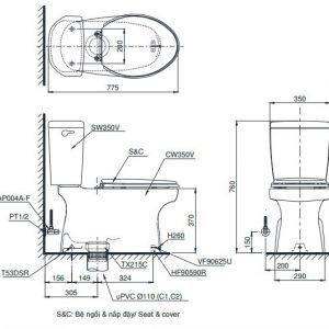 bản vẽ bồn cầu TOTO CS350DT2