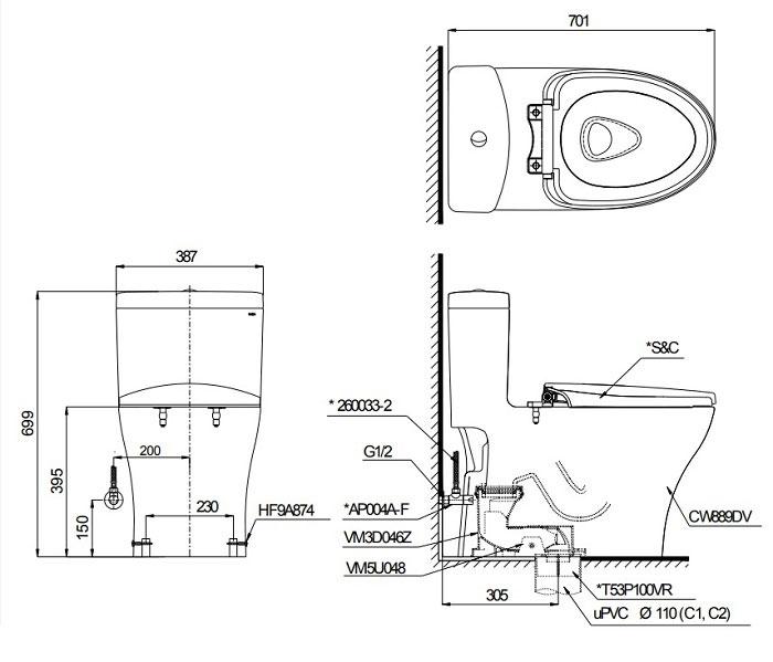 Bản vẽ kỹ thuật bồn cầu TOTO MS889DT3