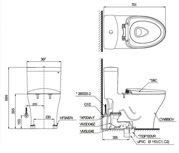 Bản vẽ kỹ thuật bồn cầu TOTO MS889DT8