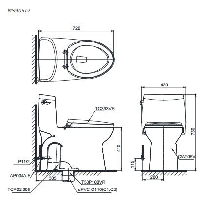 bản vẽ bồn cầu TOTO MS905T2