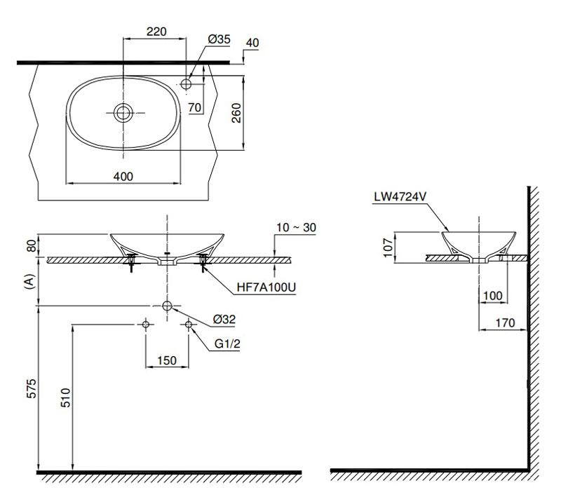 Bản vẽ lavabo TOTO LT4724