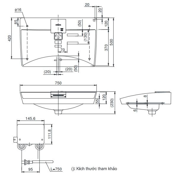 Bản vẽ kỹ thuật chậu rửa TOTO LW991A
