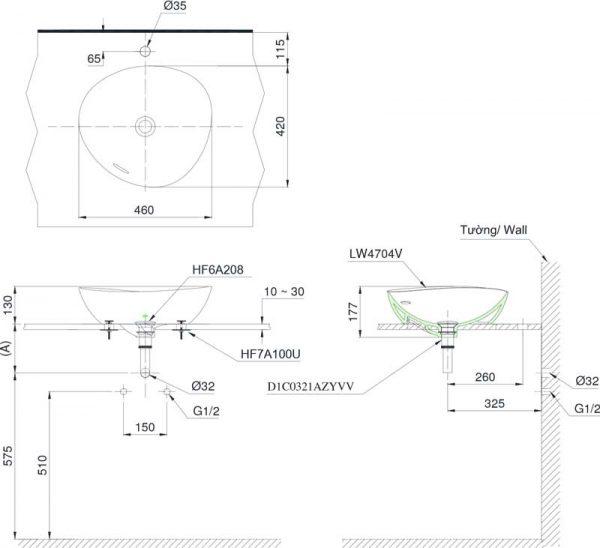 Bản vẽ lavabo TOTO LT4704G17