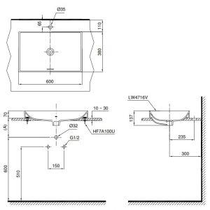 Bản vẽ lavabo TOTO LT4716